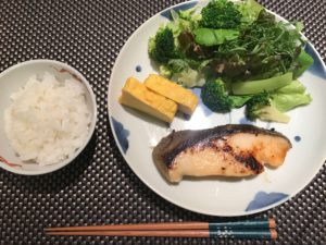 鱈、野菜、卵焼き